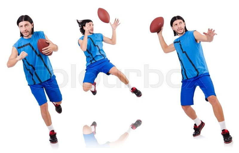 Stock image of 'Young american football player on white'