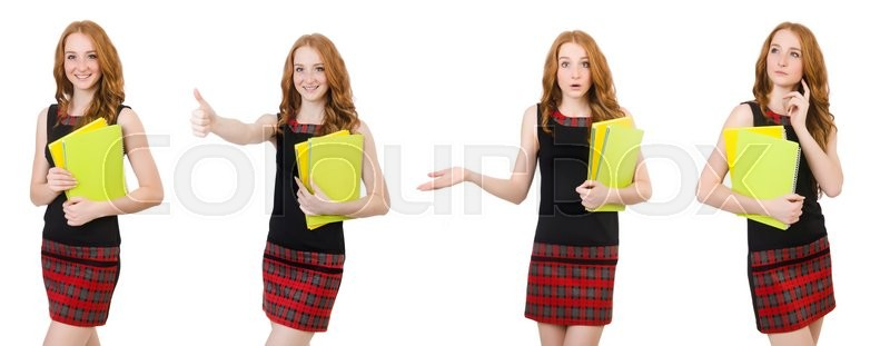 Stock image of 'Young student in various poses isolated on white'
