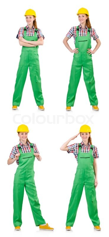 Stock image of 'Woman in green coveralls isolated on white'
