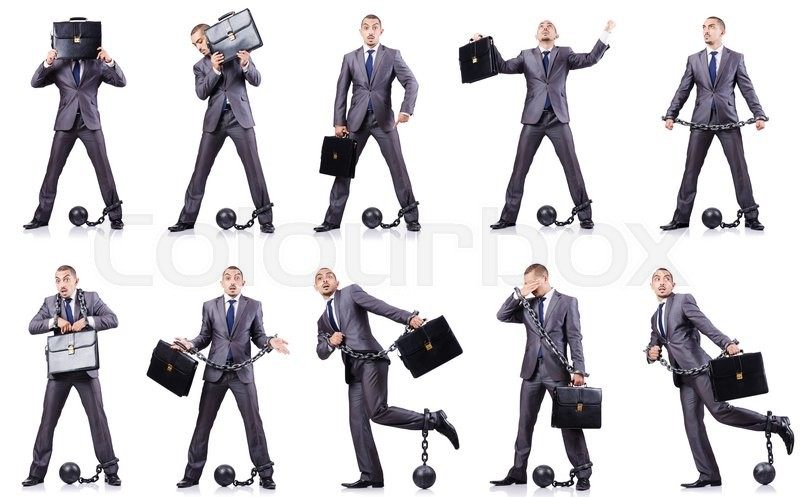 Stock image of 'Businessman with shackles on white'