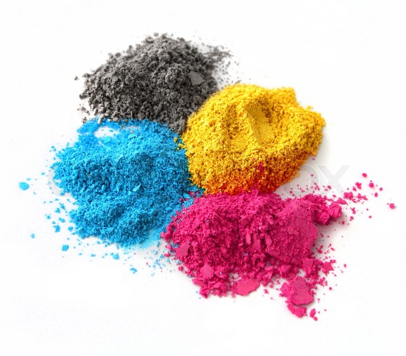Color chalk powder cyan magenta yellow black isolated on white ...