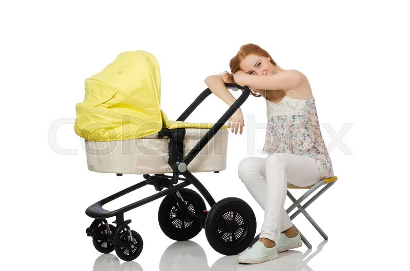 Stock image of 'Woman with baby and pram isolated on white'
