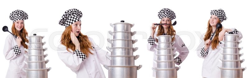 Stock image of 'Woman cook isolated on the white'