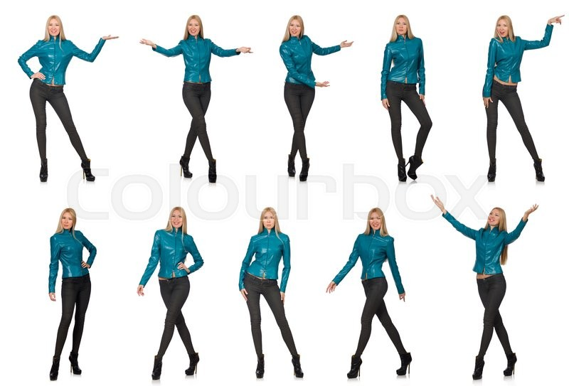 Stock image of 'Pretty woman in blue leather jacket isolated on white'