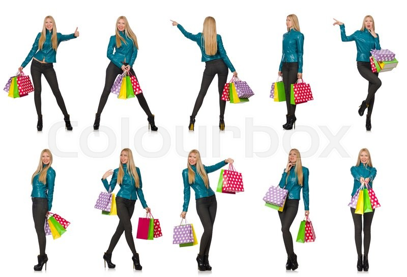Stock image of 'Woman with shopping bags isolated on white'
