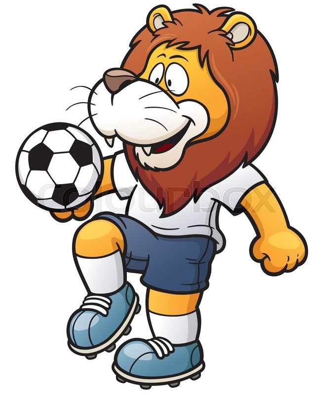vector illustration of cartoon soccer player lion stock vector
