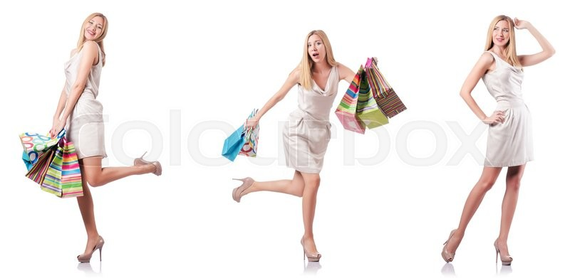 Stock image of 'Attractive woman after good shopping'