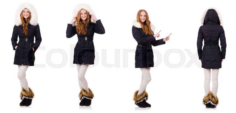 Stock image of 'Pretty girl in warm clothes isolated on white'