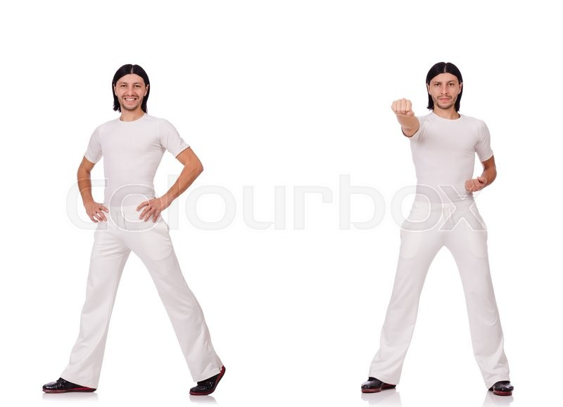 Stock image of 'A man in white sportswear isolated on white'