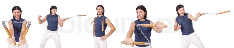 Stock image of 'Funny karate fighter with nunchucks on white'
