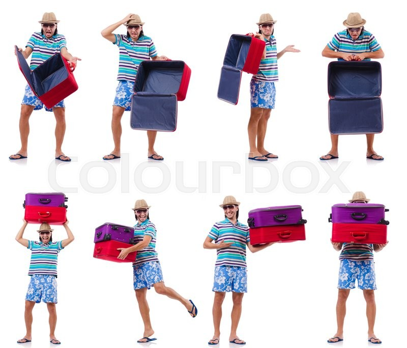 Stock image of 'Travel vacation concept with luggage on white'