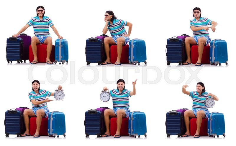 Stock image of 'Man travelling with suitcases isolated on white'