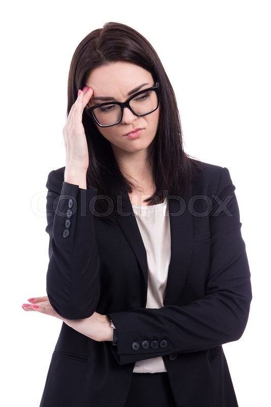 Stock image of 'young business woman thinking about something isolated on white background'