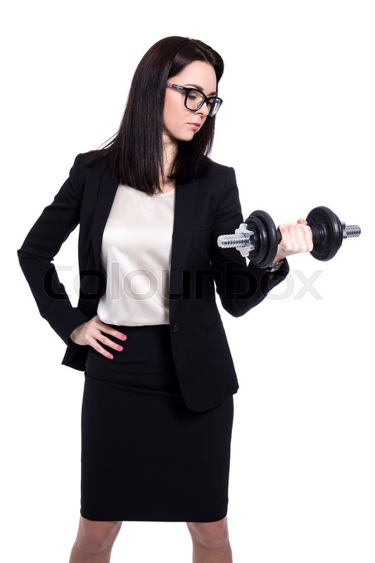 Stock image of 'hard work concept - business woman with dumbbell isolated on white background'