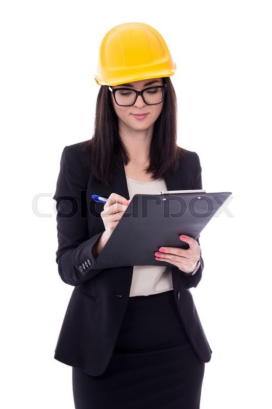 Stock image of 'portrait of business woman architect in yellow helmet with clipboard isolated on white background'