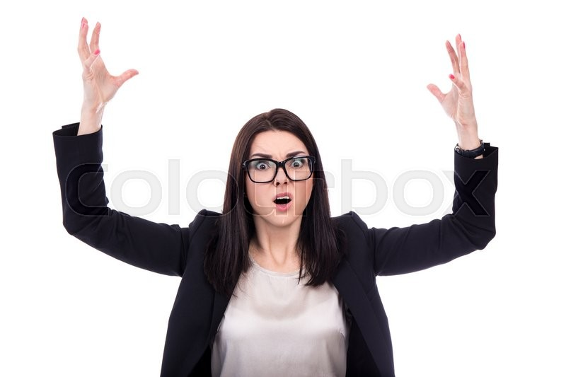Stock image of 'portrait of stressed business woman screaming isolated on white background'
