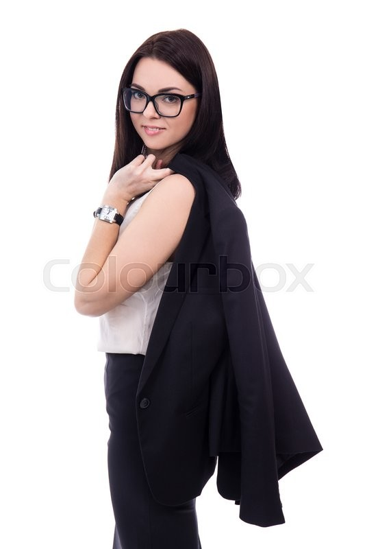 Stock image of 'business and fashion concept - portrait of beautiful business woman holding her jacket isolated on white background'