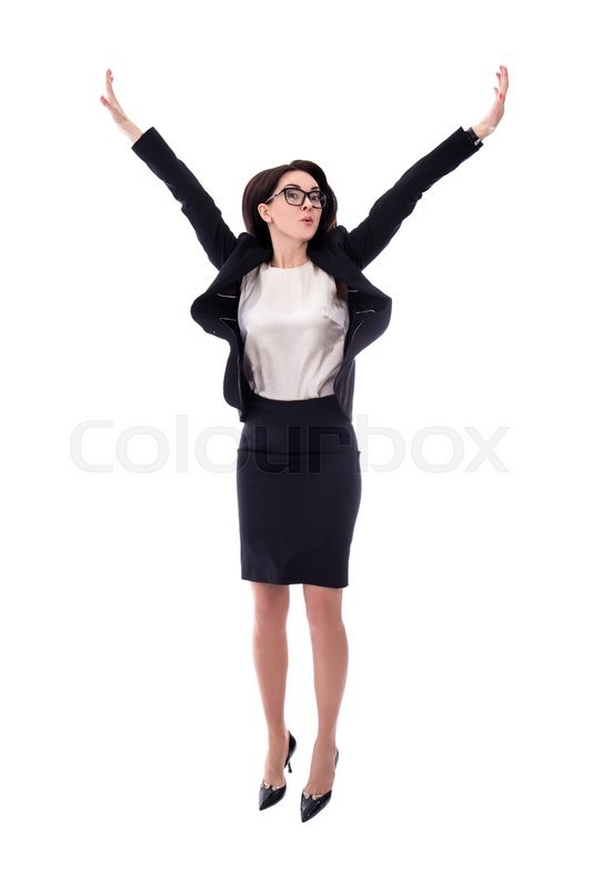 Stock image of 'happy young business woman jumping isolated on white background'