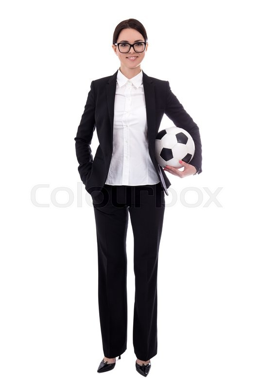 Stock image of 'full length portrait of young beautiful business woman with soccer ball isolated on white background'