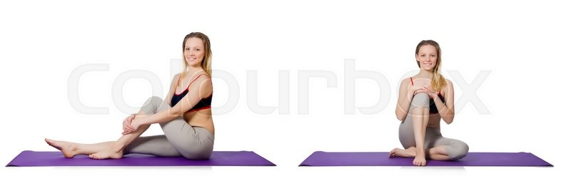 Stock image of 'Young female doing exercises on white'