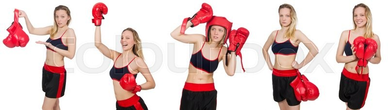 Stock image of 'Woman boxer on white background'