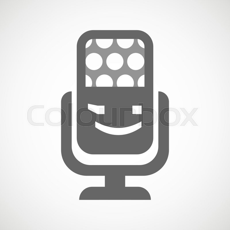 Illustration Of An Isolated Microphone Icon With A Wink Text Face