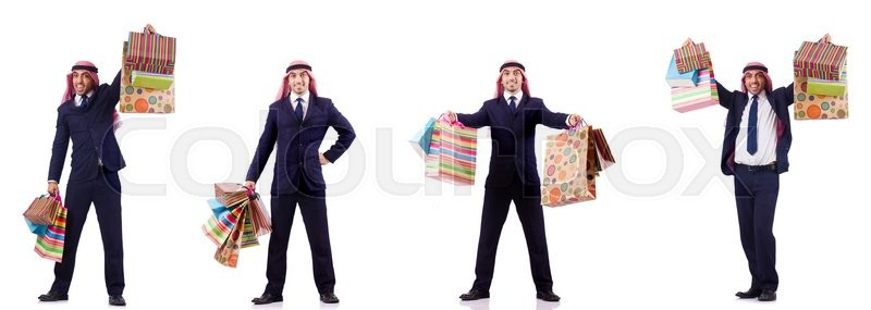 Stock image of 'Arab man with shopping gifts on white'