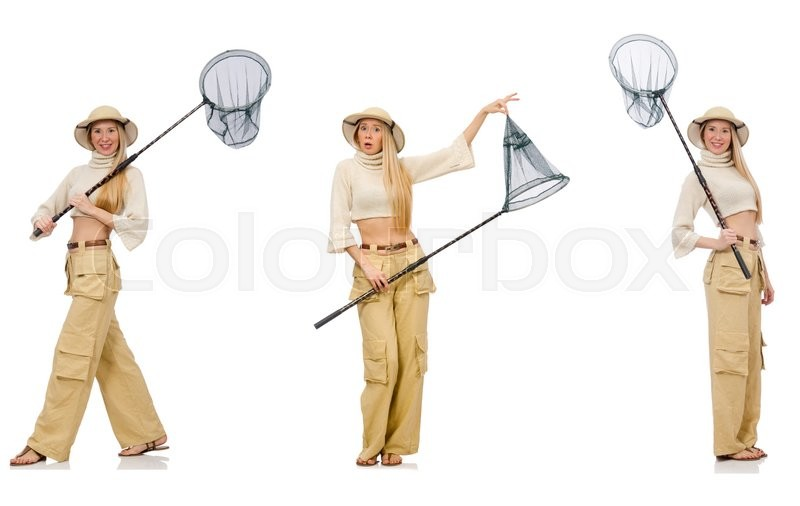 Stock image of 'Woman with catching net on white'