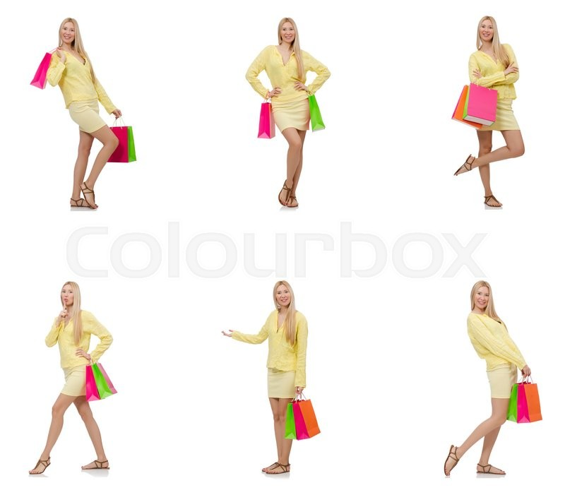 Stock image of 'Collage of woman with shopping bags'
