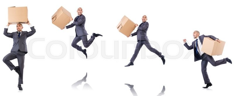 Stock image of 'Collage of photos with man and boxes'