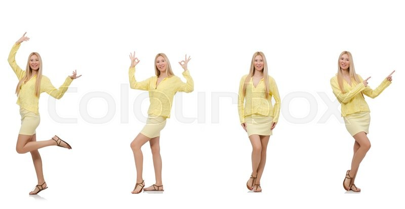 Stock image of 'Collage of woman isolated on white'