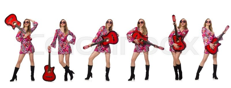 Stock image of 'Woman guitar player isolated on white'