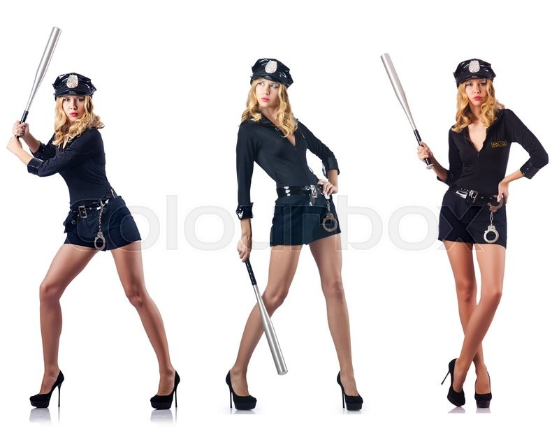 Stock image of 'Woman police officer isolated on white'