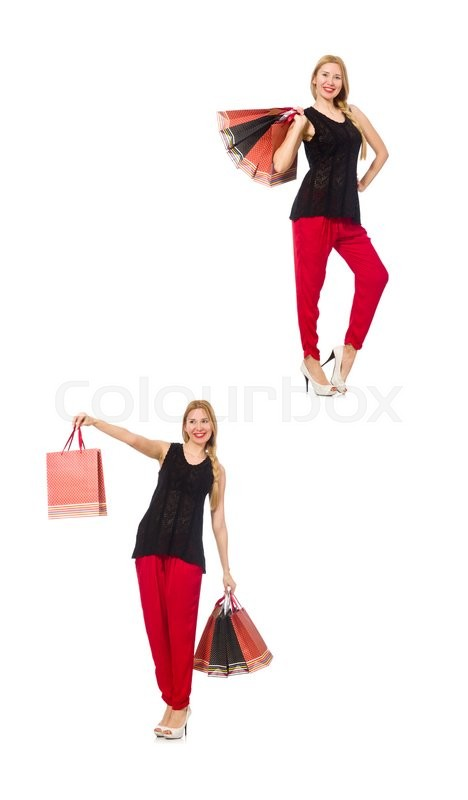 Stock image of 'Set of woman with shopping bags on white'