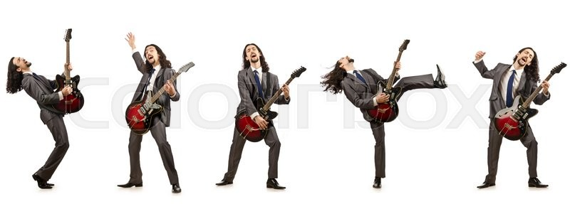 Stock image of 'Funny guitar player isolated on white'