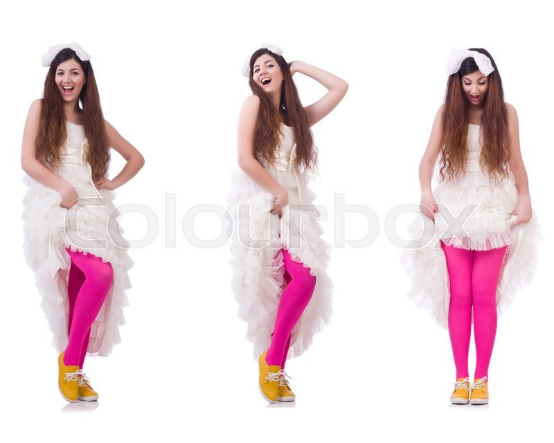Stock image of 'Funny bride isolated on the white'