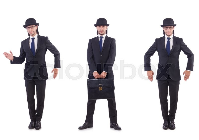 Stock image of 'Businessman in vintage concept isolated on white'