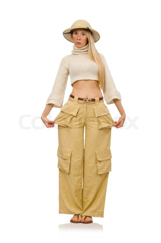 Stock image of 'Pretty woman in beige trousers isolated on white'