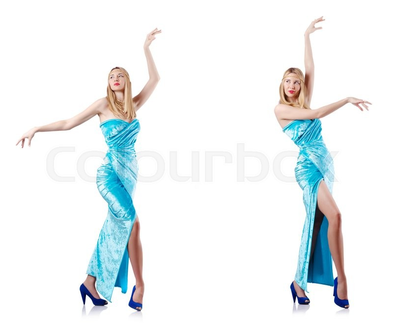 Stock image of 'Fashion concept with tall model on white'