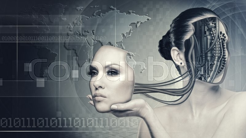 Stock image of 'Cyborg woman, abstract science and technology backgrounds'
