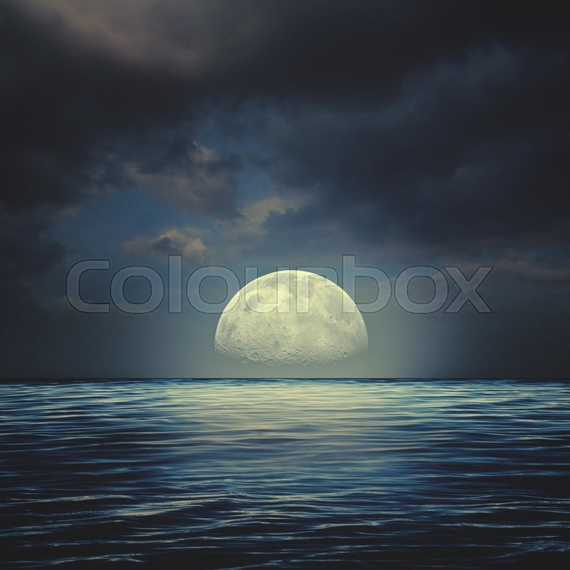 Stock image of 'Sea surface under night stormy skies, abstract natural backgrounds'