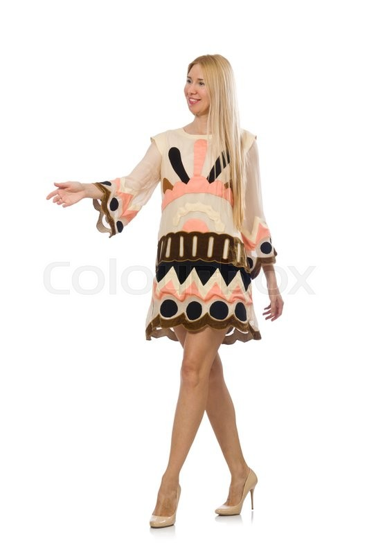 Stock image of 'Blond hair model wearing designer clothes isolated on white'