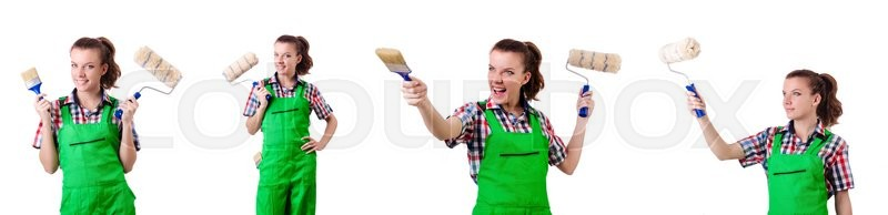 Stock image of 'Woman painter with paintbrush on white'