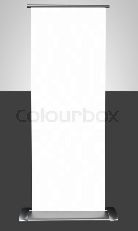 Stock image of 'Roll up blank white banner. 3D rendering.'