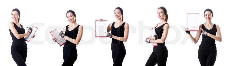Stock image of 'Young woman with notepad writing on white'