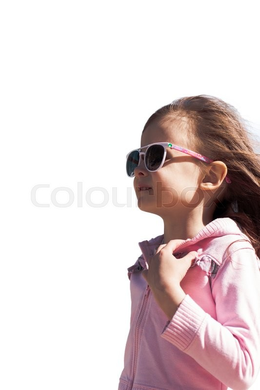 Stock image of 'Portrait of a beautiful walking child girl isolated on white'