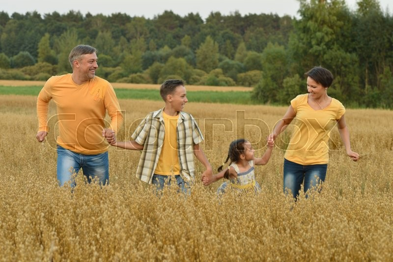 Stock image of 'Portrait of a happy family at summer  field'