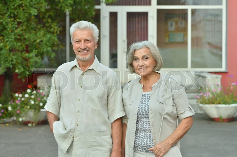 Stock image of 'portrait of happy  Mature couple in town'