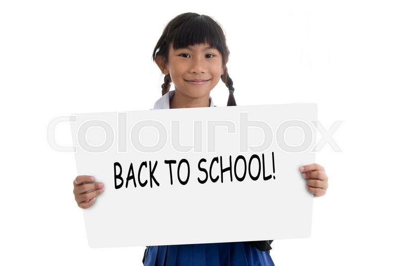 Stock image of 'Pupil showing whiteboard against back to school concept'