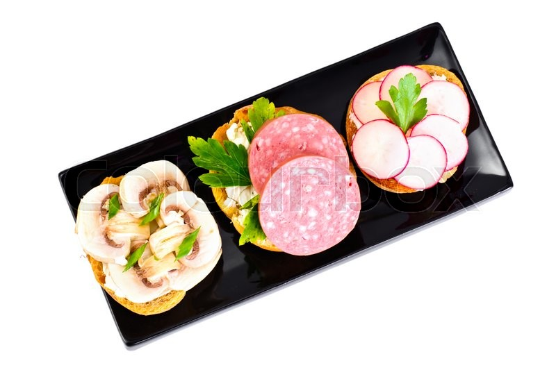 Stock image of 'Sandwich of Corn Bread and Mushrooms, Salami, Radish Studio Photo'